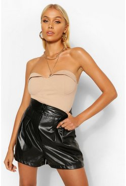 Black PU Faux Leather Button Up Pleat Front Shorts