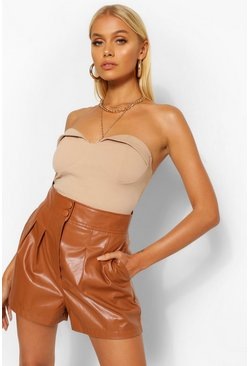 Tan brown PU Faux Leather Button Up Pleat Front Shorts