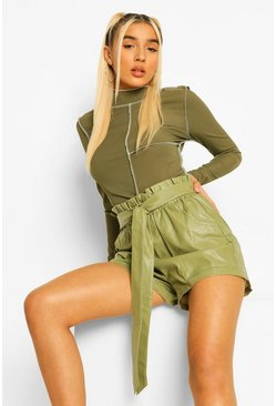 Sage green PU Faux Leather Pocket Belted Paperbag Shorts