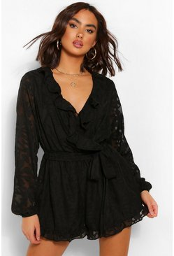Black Floral Chiffon Frill Wrap Belted Playsuit