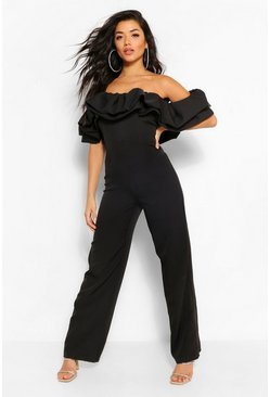 Black Bardot Ruffle Tapered Leg Jumpsuit