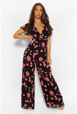 Black Woven Floral Angel Sleeve Wide Leg Jumpsuit