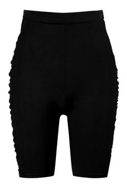 Black Ruched Side High Waist Cycling Shorts