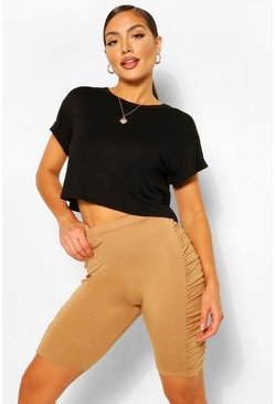 Camel beige Ruched Side High Waist Cycling Shorts