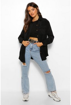 Black Cord Pocket Denim Shirt