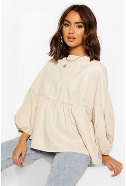Stone beige Denim Ballon Sleeve Smock Top