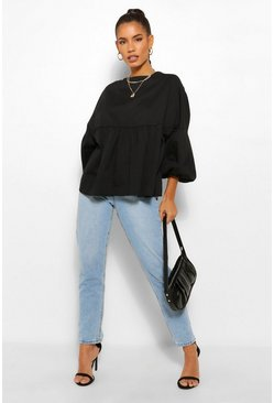 Black Denim Balloon Sleeve Smock Top