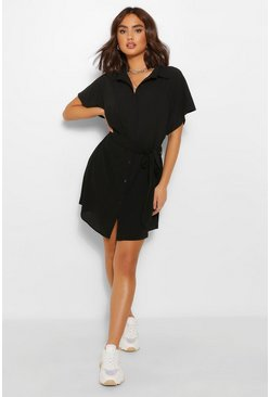 Black Kimono Sleeve Shirt Dress