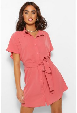 Rose pink Kimono Sleeve Shirt Dress