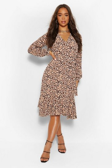 Brown Leopard Print Midi Shirt Dress