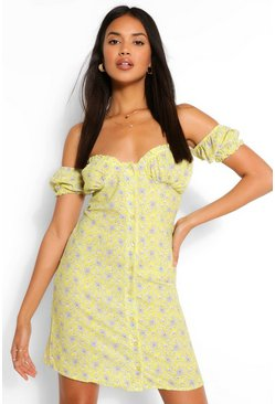 Paisley Print Off Shoulder Button Mini Dress, Yellow