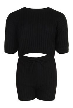 Black Rib Knit Top & Shorts Co-ord
