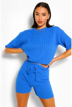 Cobalt blue Rib Knit Top & Shorts Co-ord