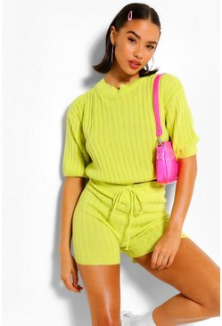 Lime green Rib Knit Top & Shorts Two-Piece