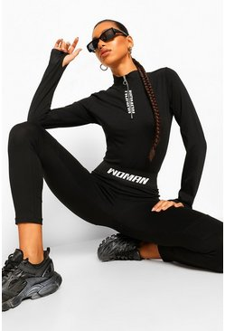 Black WOMAN PRINT ELASTICATED WAIST DETAIL LEGGING