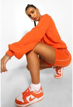 Orange Raglan Sleeve Oversized Sweater
