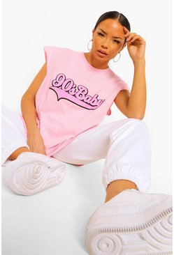 "T-SHIRT ""90'S BABY"" CON IMBOTTITURA SULLE SPALLE, Rosa confetto rosa"