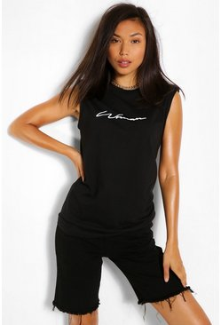 Black WOMAN SCRIPT SHOULDER PAD TSHIRT