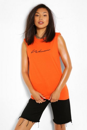 Orange Woman Script Shoulder Pad Tshirt