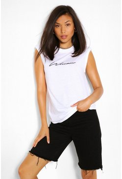 White WOMAN SCRIPT SHOULDER PAD TSHIRT