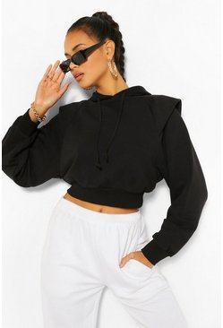 Black Crop Shoulder Detail Hoodie