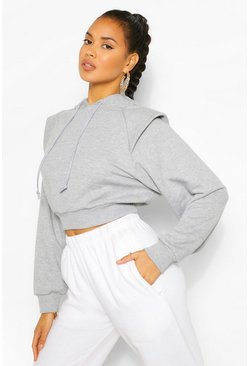 Grey marl grey CROP SHOULDER DETAIL HOODY