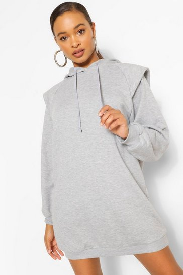 Grey marl grey Grey Oversized Shoulder Detail Hoodie