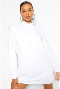 White Oversized Shoulder Detail Hoodie