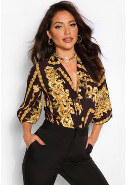 Black Chain Print Shirt Bodysuit