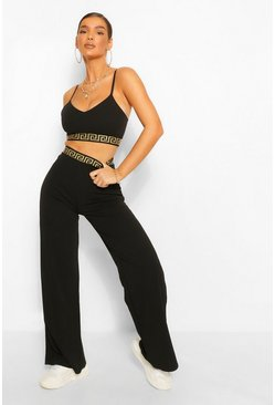 Black Wide Leg Trouser With Elasticated Waist