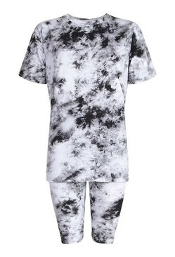 Black Tie Dye Short & Oversized Tee Set