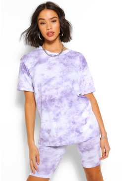 Lilac Tie Dye Short & Oversized Tee Set
