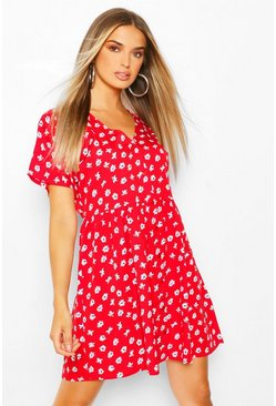 Red Ditsy Print Smock Dress