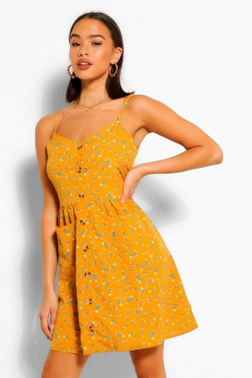 Mustard yellow Ditsy Print Sundress