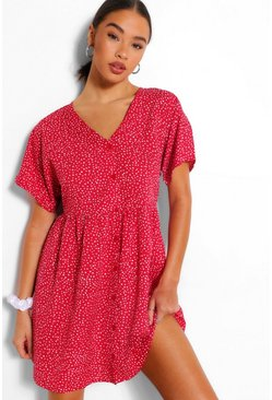 Red Polka Dot Smock Dress