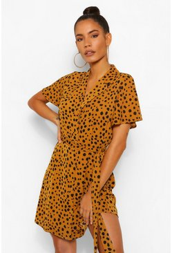 Mustard yellow Dalmation Spot Shirt Dress