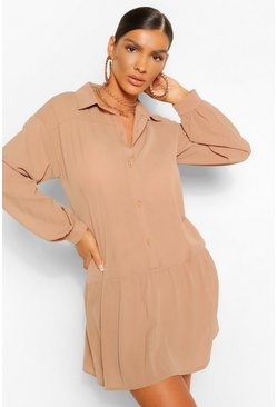 Frill Hem Smock Shirt Dress, Camel