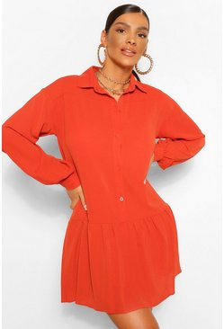 Rust orange Frill Hem Smock Shirt Dress