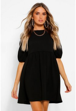 Black Puff Sleeve Smock Dress