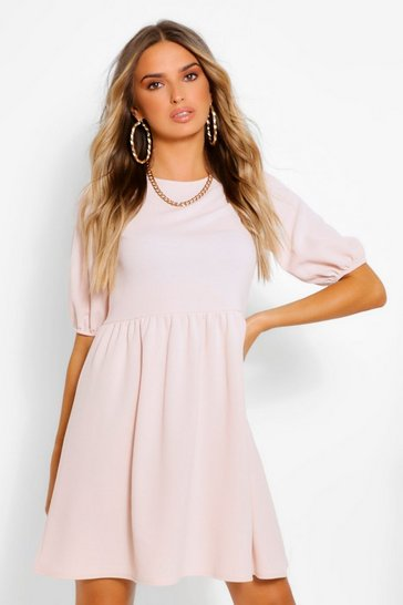 Blush Puff Sleeve Smock Dress