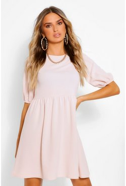 Blush pink Puff Sleeve Smock Dress