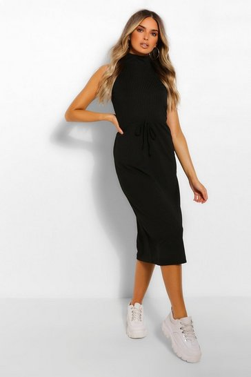 Black High Neck Rib Drawstring Midi Dress