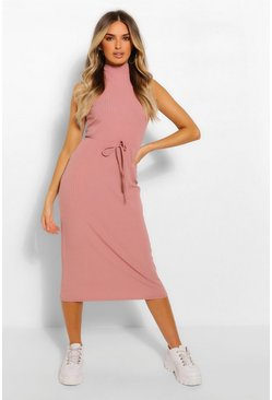 Rose pink High Neck Rib Drawstring Midi Dress