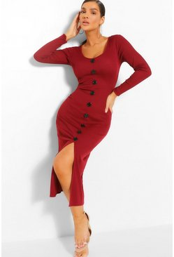 Wine red Rib Button Down Midi Dress
