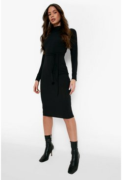 Black High Neck Rib Belted Midi Dress