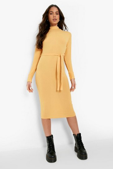Mustard yellow High Neck Rib Belted Midi Dress
