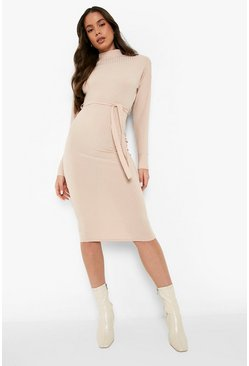 Sand High Neck Rib Belted Midi Dress
