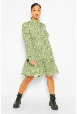 Olive green Plus Ditsy Print Tie Neck Smock Dress