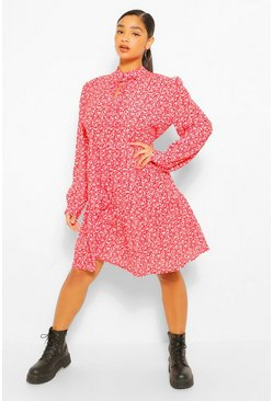 Red Plus Ditsy Print Tie Neck Smock Dress