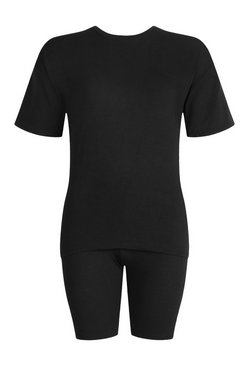 Black T-Shirt Cycle Short Co-ord Set